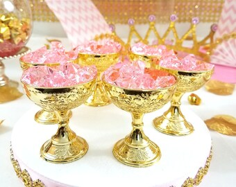 12 Small Gold Cup Favors For Royal Princess Baby Shower / Perfect Little  Princess Pink And