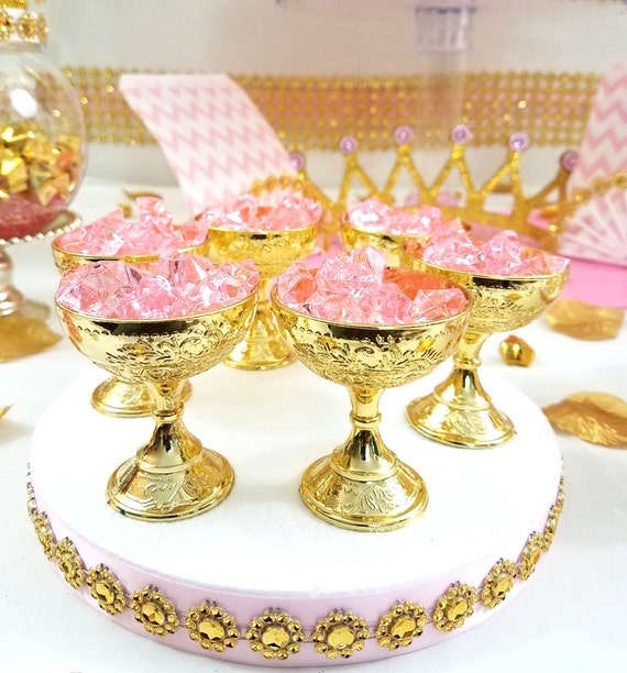 12 Small Gold Cup Favors For Royal Princess Baby Shower / Perfect Little Princess Pink And Gold