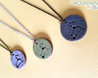 Leo Constellation Necklace – Round Ceramic Pendant Necklace, Zodiac Jewelry, Constellation Jewelry