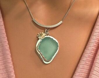 Genuine Sea Glass Necklace Sea Foam Green Fine Silver and Argentium Silver Jewelry SS Daisy Charm