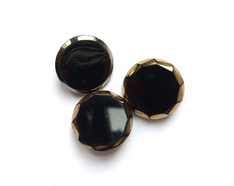 3 Black, Gold & Silver Glass Antique French Buttons, 20mm