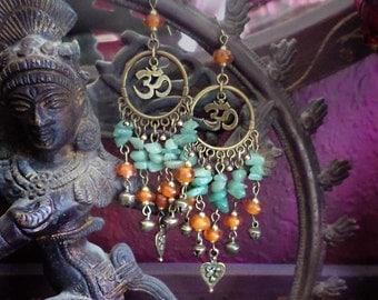 "Green Aventurine Gemstone Om Chandelier Earrings, Bronze Aum Symbol Hindu Jewelry, Buddhist, Spiritual, Orange, 4"" Long, Heart Chakra"
