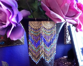 Extra Long and Wide Beaded Fan Chandelier Earrings, Colorful Glass, Peacock, Periwinkle Blue, Purple, Mint Green, Bright Gold, Boho Hippie
