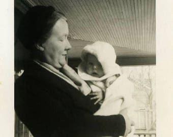 "Vintage Photo ""Bundled and Warm"" Children Baby Mom Snapshot Antique Photo Old Black & White Photograph Found Paper Ephemera Vernacular - 164"