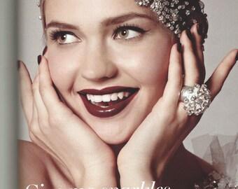 Diamonties embroidered tulle cap, Great Gatsby inspired headpiece, alternative veil, unusual bridal headpiece