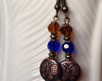 "Swarovski Earrings Blue ""Sapphire"" Round & Amber ""Topaz"" Crystal Beads with Copper Butterfly Coin Bead"