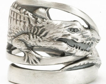 Alligator Ring, Animal Ring, Sterling Silver Spoon Ring, Gator Rings, Florida Ring, Alligator Jewelry, Gator Jewelry, Adjustable Ring (1928)