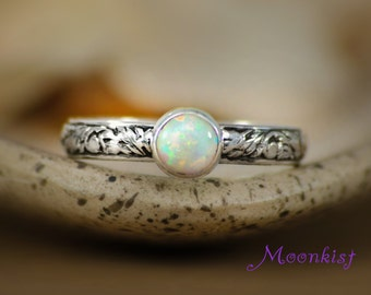 Opal Bezel-Set Solitaire with Floral Sterling Silver Tendril and Vine Band - Floral Promise Engagement Ring - Choice of Stone