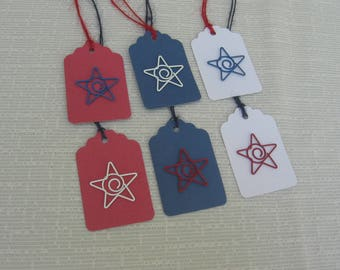 Patriotic Star Gift Tags, Set of 6 Red White Blue Gift Tags, July 4th Gift Tags