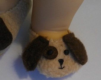 15 inch Doll Clothes fits Bitty Twins - Puppy Dog Slippers Brown