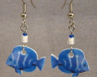 Tropical Fish Dangle Earrings - Aquarium Jewelry - Blue Jewellery