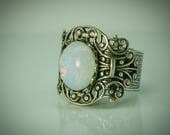 White Opal RING Boho Vintage glamour. Silver ring band. Adjustable womans size 6.5 7.5 8.5 9.5 10.5 11.5 Chic Moonstone style. Glass jewel