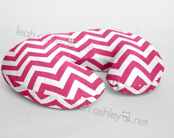 Boppy® Cover, Nursing Pillow Cover - Hot Pink Chevron Minky - BC1