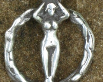 Moon Goddess in Sterling  Silver. Wiccan Goddess Charm. Earth Mother Charm.Earth Goddess Pendant.