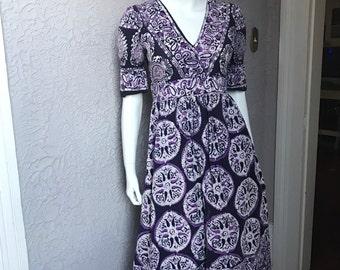 60's Vintage Hand Print Gauze Cotton Hippie Dress sm.