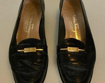 Vintage SALVATORE FERRAGAMO Black Faux Alligator Leather Loafers Gold SIGNED Buckle Size 6.5