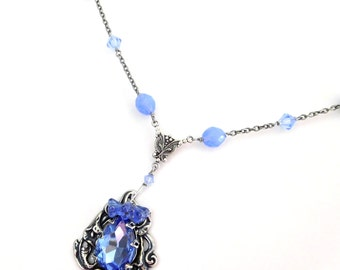 Light blue pendant necklace, antiqued silver filigree rhinestone, crystal glass bead chain, periwinkle blue vintage style glass jewelry