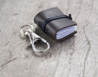 Book keychain, leather keychain, miniature book charm, book lover, literature jewelry, key accessory, men women keychain, leather journal