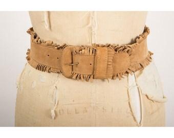 Vintage suede fringe belt / 1980s Jill Stuart wide southwestern style S M