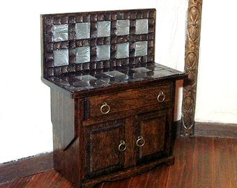Tile Topped Cabinet, Dollhouse Miniature 1/12 Scale, Hand Made