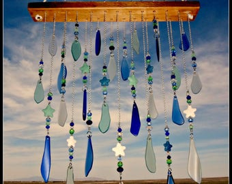 Beach Glass chime, sea glass mobile, glass suncatcher, starfish mobile, beaded glass chime, beach glass decor, garden art, patio chime