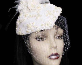 Pearl Fleur Wedding Feathered Cocktail Hat Blusher Birdcage Net Steampunk Bride Fascinator Bridal