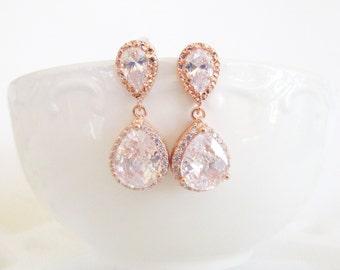 Rose Gold Bridal Earrings, Rose Gold Wedding Jewelry,Crystal Bridal Earrings,Bridal Jewelry,Wedding Jewelry,Teardrop Earrings,JACQUELINE