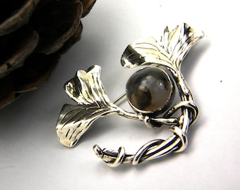Ginkgo brooch sterling silver Ginkgo leaves pin, Agate gemstone brooch botanical pin 925 silver ginkgo jewelry, gift for her