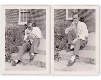 Lighting Up- 1940s Vintage Photographs- SET of 2- Man Smoking Cigarette- Found Photos- Vernacular Snapshots- Paper Ephemera