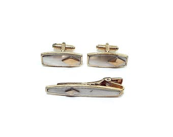 Anson Vintage Mens Set Tie Clip Cufflinks Two Tone Matte and Shiny Geometric Diamond Shape Mid Century Hipster Jewelry