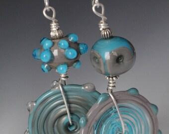 Asymmetrical Turquoise Gray Lampwork Glass Beaded Sterling Silver Earrings