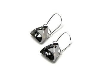 Silver Night Swarovski Crystal Triangle Earrings Modern 12mm Dark Metallic Geometric Sci Fi Shape Noir Wedding Jewelry Gift For Teen Hipster
