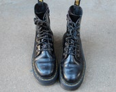 Vintage Womens 6 Dr. Martens Jadon 8i Combat Military Boots Boot Bootie Booties Patent Leather Black Yellow Docs Work Boots Punk Goth Daria