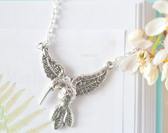 Silver Hummingbird Necklace, Hummingbird Pendant, Hummingbird Charm, Hummingbird Jewellery, Hummingbird Necklace, Bird Jewellery, Bird Charm