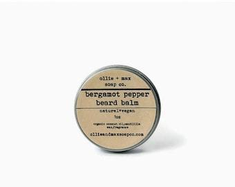 Bergamot Pepper Beard Balm, Organic Beard Balm, Vegan Beard Balm, Beard Grooming,Beard Care