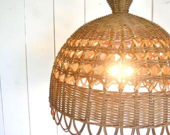 Ratan Hanging Lamp - Vintage Beige Woven Wicker Light - 1970s Hippie Boho Decor