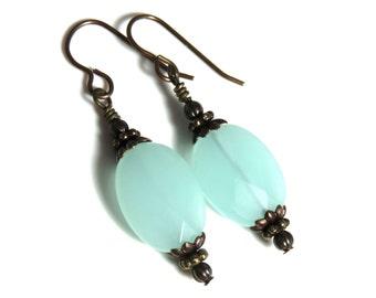 Oval Larimar Earrings, Green Earrings, Sterling Silver Earrings, Oval Earrings, Antique Brass Earrings, Larimar and Brass
