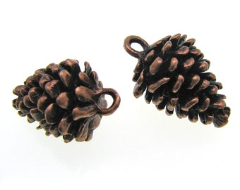 Charms : 5 Antique Copper Pine Cone Charms / Copper Ox Pinecone Pendants -- Lead, Nickel & Cadmium Free 85490.B33