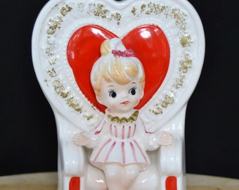 Vintage Valentine's Queen Planter with Girl on Throne by Relpo