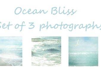 Ocean Photographs set of Three, Calming Ocean Print Set of 3, Coastal Shore Photography Set, Ocean blue, green Beach prints