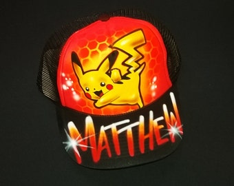 Airbrush Trucker Hat With Pikachu, Pikachu Hat, Pikachu, Airbrush Pikachu, Airbrush, Airbrush Hat, Trucker Hat, Painted Hat, Pokemon, Hat