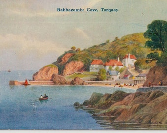 Babbacombe Cove - Torquay - Antique postcard - vintage - illustration  - correspondence - England - Devon - Free shipping Canada USA