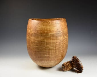 rippled Olive ash decorative vessel, wood, woodturning, gift