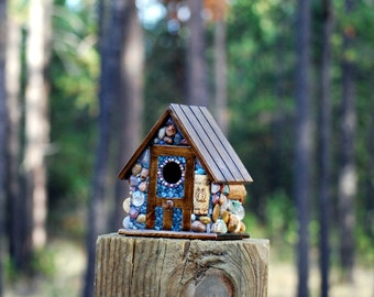Stone Birdhouse Eco Friendly Cottage: Wine corks, colorful river stones, and coastal agates mosaic birdhouse