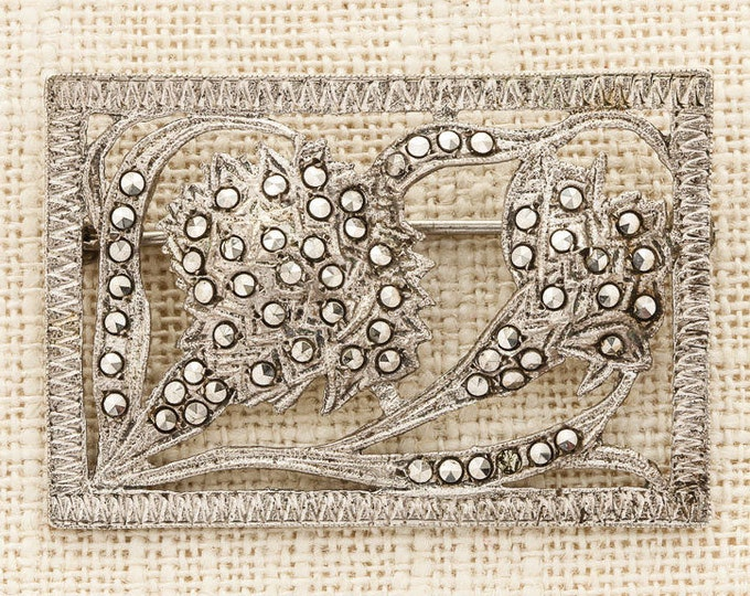 Silver Art Deco Brooch Vintage Rectangular Sterling Rhinestone Frame Flowers Broach Costume Jewelry Marcasite | Vtg Pin 16C