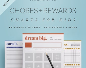 Mini Chores & Rewards Editable Charts for Kids and Toddlers, Allowance and Commission Tracker, Goal Setting  //  Household PDF Printables