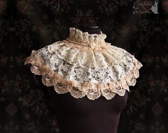 Shoulder piece, bridal lace, wedding gown cover up, Victorian, Art nouveau, Maeror, Somnia Romantica, See item details for measurements
