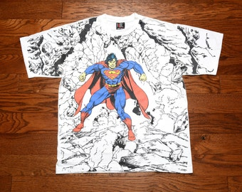 vintage 90s Superman allover print shirt Giant Tee Jays DC Comics 1994 1990 Man of Steel 100% cotton XL
