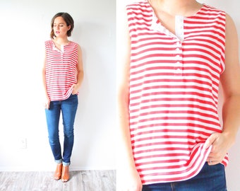 Vintage 90's red striped tank top // nautical tank top // retro tank top // summer spring red button down tank / boho retro striped tank top