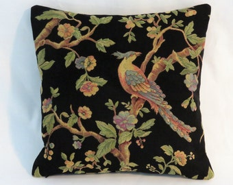 "Black Brocade Pillow With Blue Bird, Pheasant or Peacock, Flowers in Gold Purple Green, 15"" Square Zipper Cover with Insert Ready to Ship"